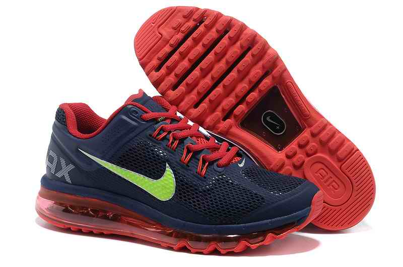 Discount Nike Air Max 2015 Mesh Cloth Men's Sports Shoes - Deep Blue Green Red TB476835