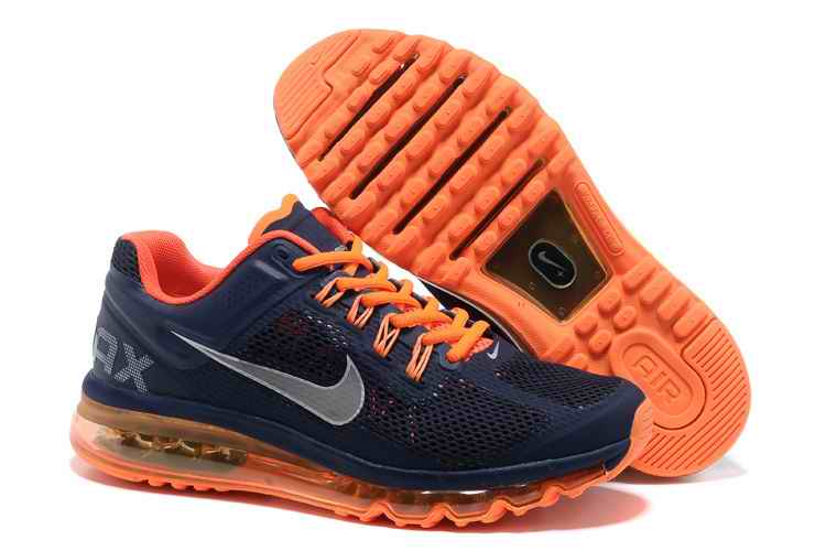 Discount Nike Air Max 2015 Mesh Cloth Men's Sports Shoes - Deep Blue Orange VQ475162
