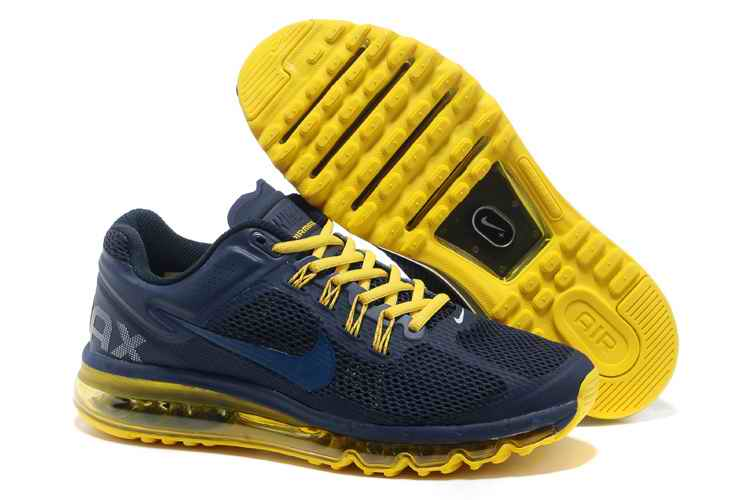Discount Nike Air Max 2015 Mesh Cloth Mens Sports Shoes - Deep Blue Yellow JQ102374