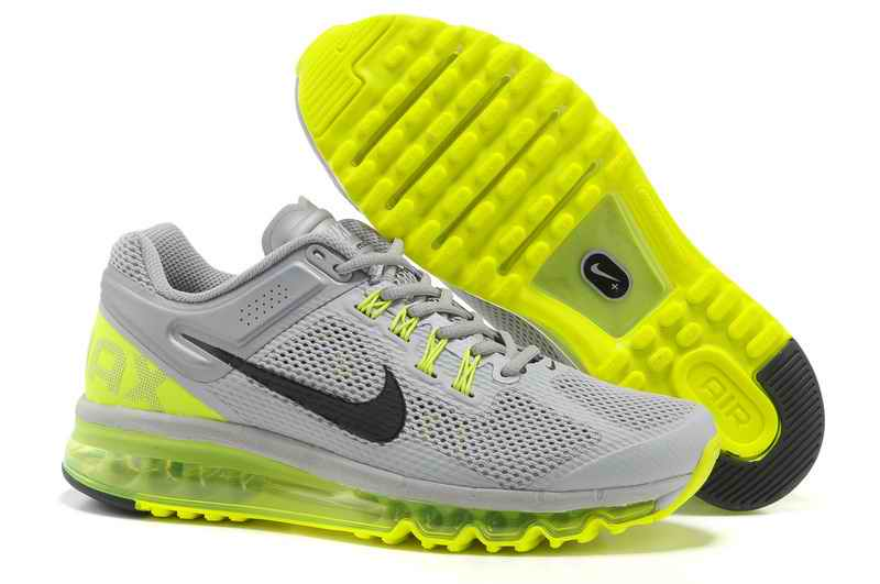 Discount Nike Air Max 2015 Mesh Cloth Men's Sports Shoes - Gray Fluorescent Green UO861379
