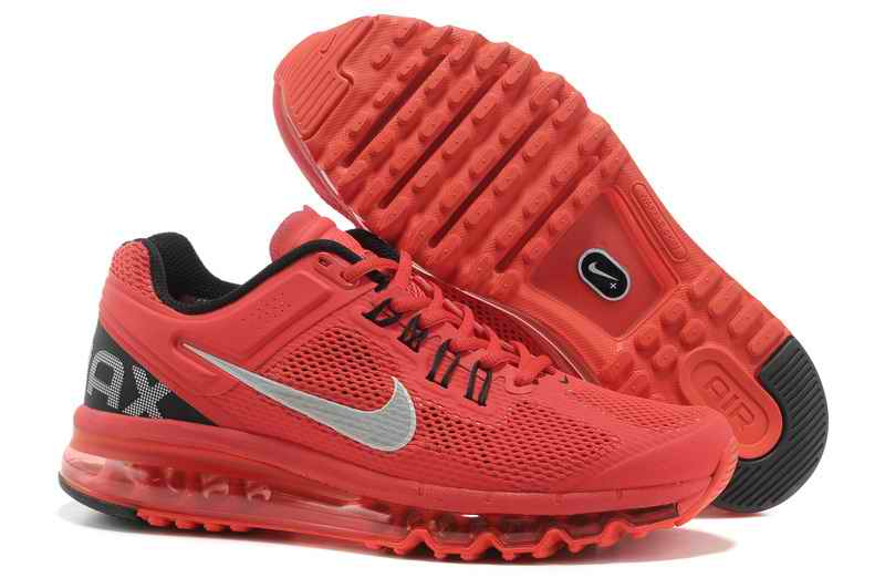 Discount Nike Air Max 2015 Mesh Cloth Men's Sports Shoes - Red Silver TY302641