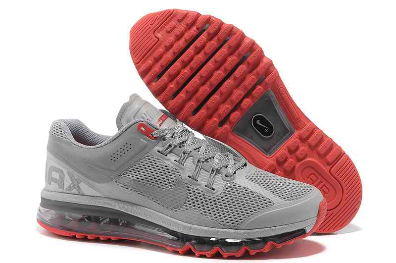 Discount Nike Air Max 2015 Mesh Cloth Mens Sports Shoes - Silver Gray Red ES023165