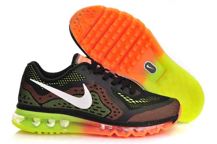 Discount Nike Air Max 2015 Mesh cloth Men Running Shoes - Black Orange Fluorescent Green CO571694