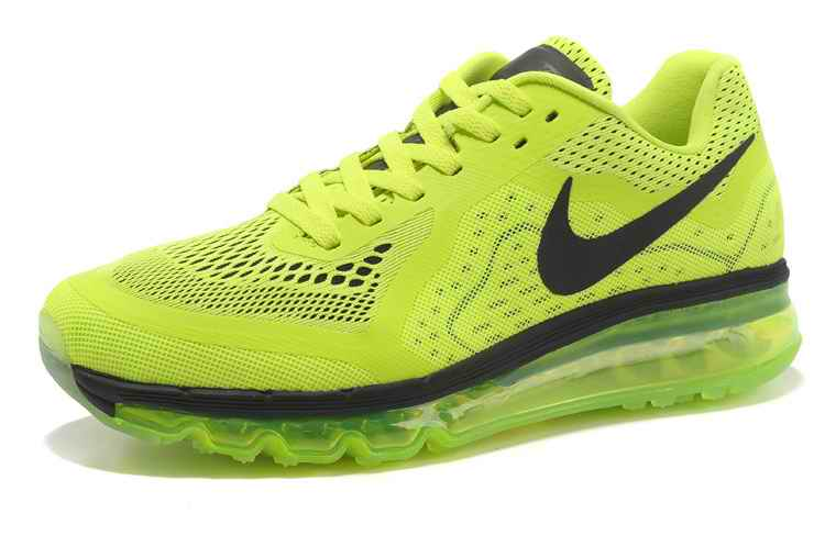 Discount Nike Air Max 2015 Mesh cloth Men Running Shoes - Fluorescent Green Black XT265138