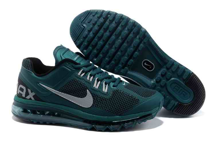 Discount Nike Air Max 2015 Mesh cloth Men's Sports Shoes - Army Green White HE601458
