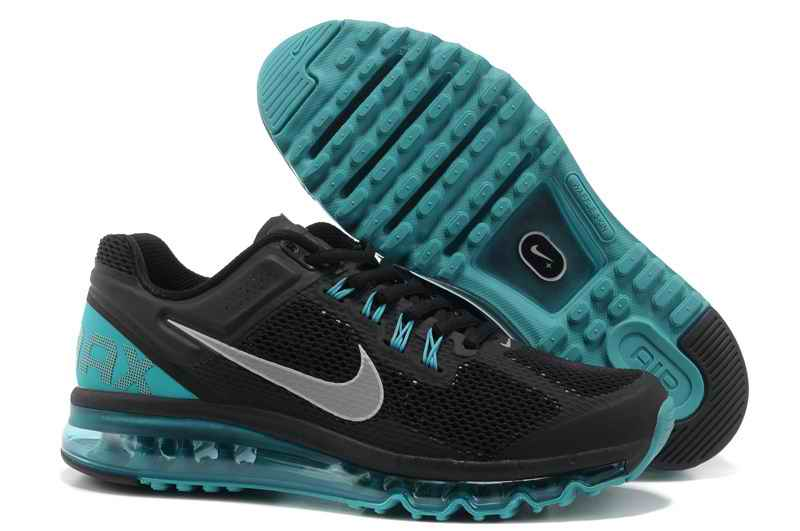 Discount Nike Air Max 2015 Mesh cloth Men's Sports Shoes - Black Green Silver EZ708452