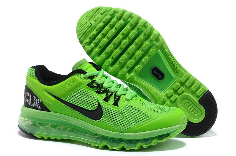 Discount Nike Air Max 2015 Mesh cloth Woman Sports Shoes - Green Black WT910542