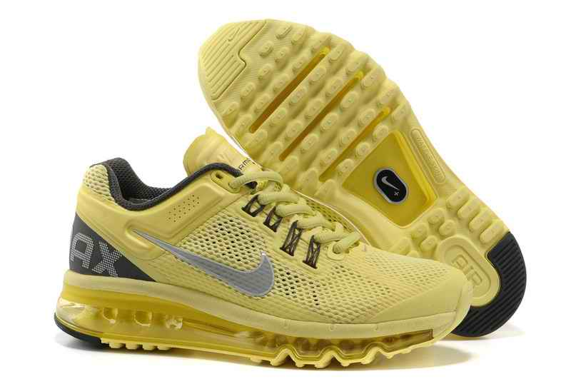 Discount Nike Air Max 2015 Mesh cloth Woman Sports Shoes - Yellow Silver UE608391
