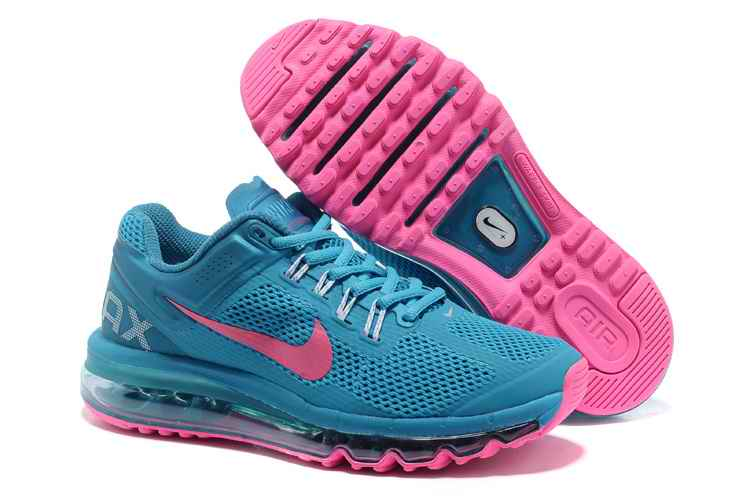 Discount Nike Air Max 2015 Mesh cloth Womans Sports Shoes - Peacock Blue Pink HN132765