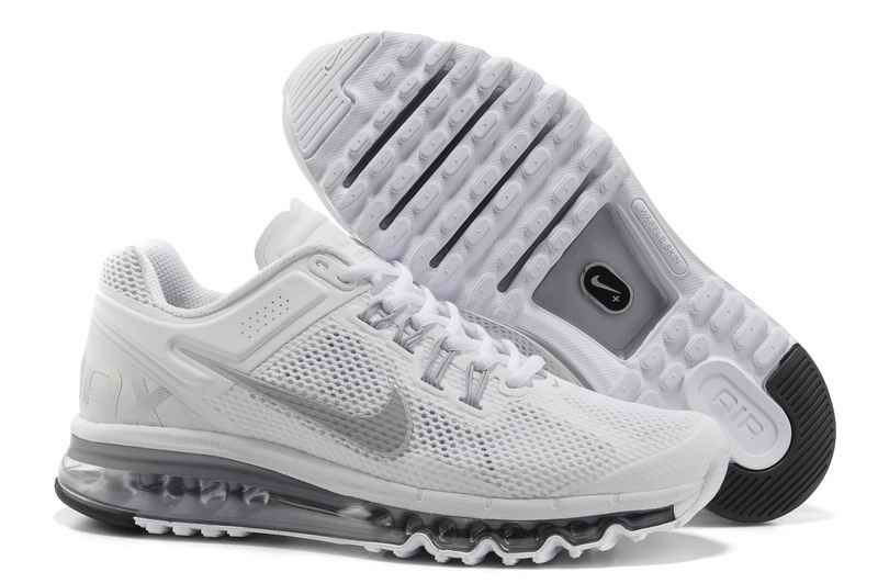 Discount Nike Air Max 2015 Mesh cloth Womans Sports Shoes - White Silver VZ096825