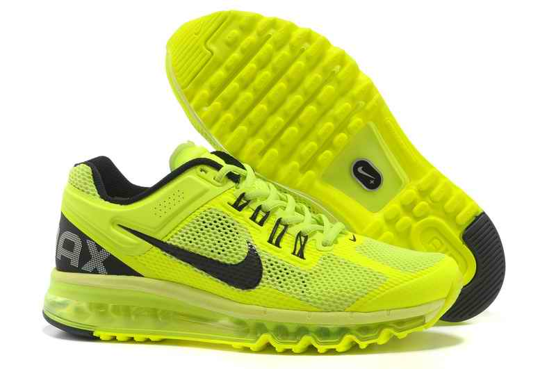 Discount Nike Air Max 2015 Mesh cloth Women's Sports Shoes - Fluorescent Green Black HM312948