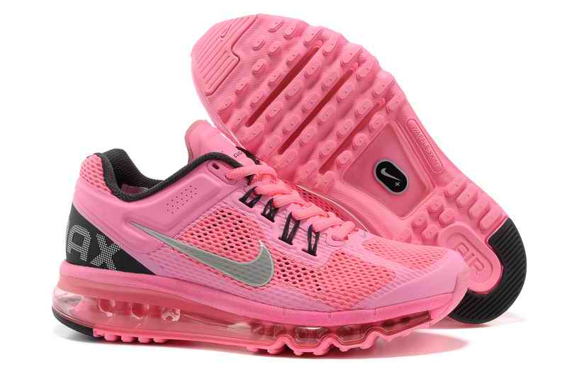 Discount Nike Air Max 2015 Mesh cloth Women's Sports Shoes - Pink Silver EN287901