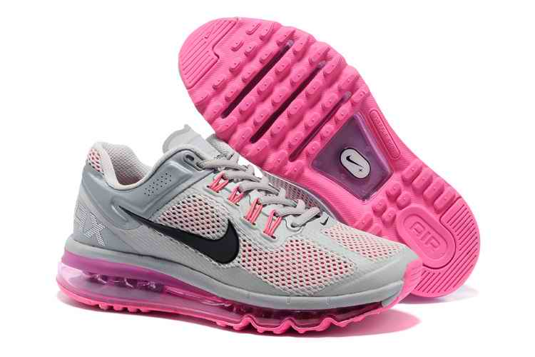 Discount Nike Air Max 2015 Mesh cloth Women's Sports Shoes - Silver Gray Pink YW609785