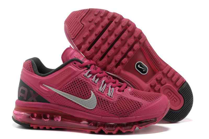 Discount Nike Air Max 2015 Mesh cloth Women's Sports Shoes - Wine Red Silver IV742395