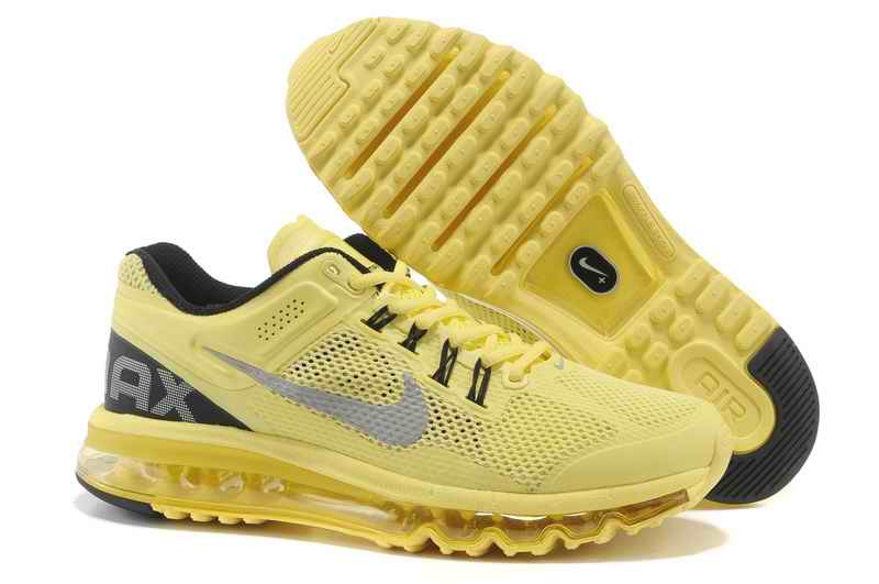 Discount Nike Air Max 2015 Mesh cloth Women's Sports Shoes - Yellow Silver KN408761