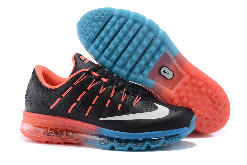 Nike Air Max 2016 Leather Mens Shoes Black Blue Red