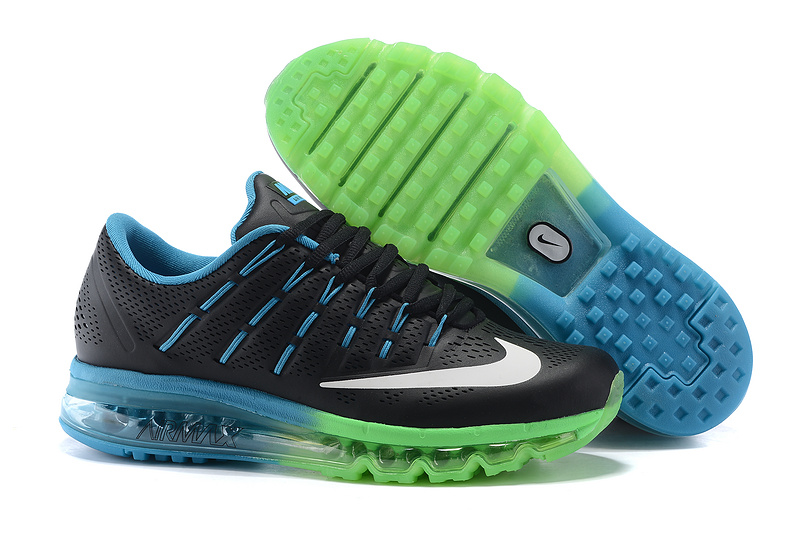Nike Air Max 2016 Leather Mens Shoes Black Green Blue