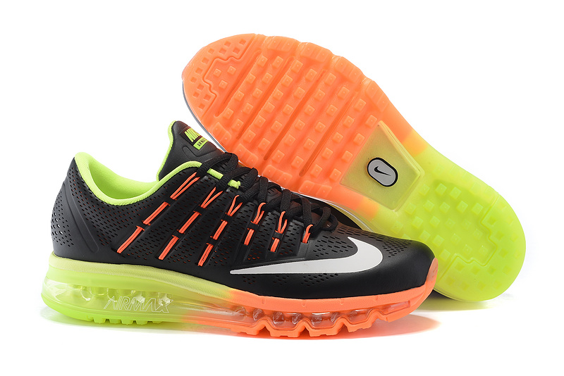 Nike Air Max 2016 Leather Mens Shoes Black Orange