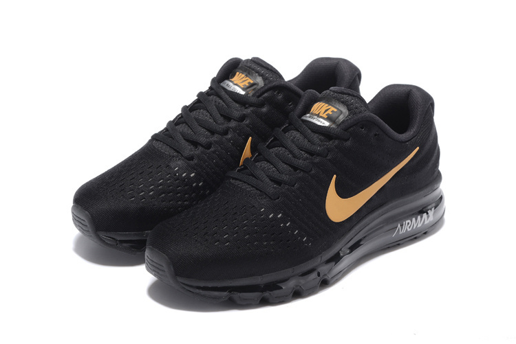Air Max FREE SHIPPING Cheap Air Max 2017 Running Shoes All Black Gold