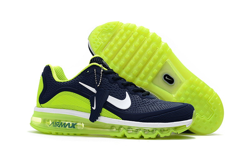Air Max FREE SHIPPING Cheap Nike Air Max 2017 Mens Fluorescent Green Navy Blue Running Shoes